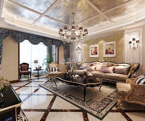 鲁班装饰 新古典 三居室 装修设计 效果图 客厅 餐厅 电视墙 卧室 客厅图片来自西安鲁班装饰设计在梧桐苑三居室160平米新古典风格的分享