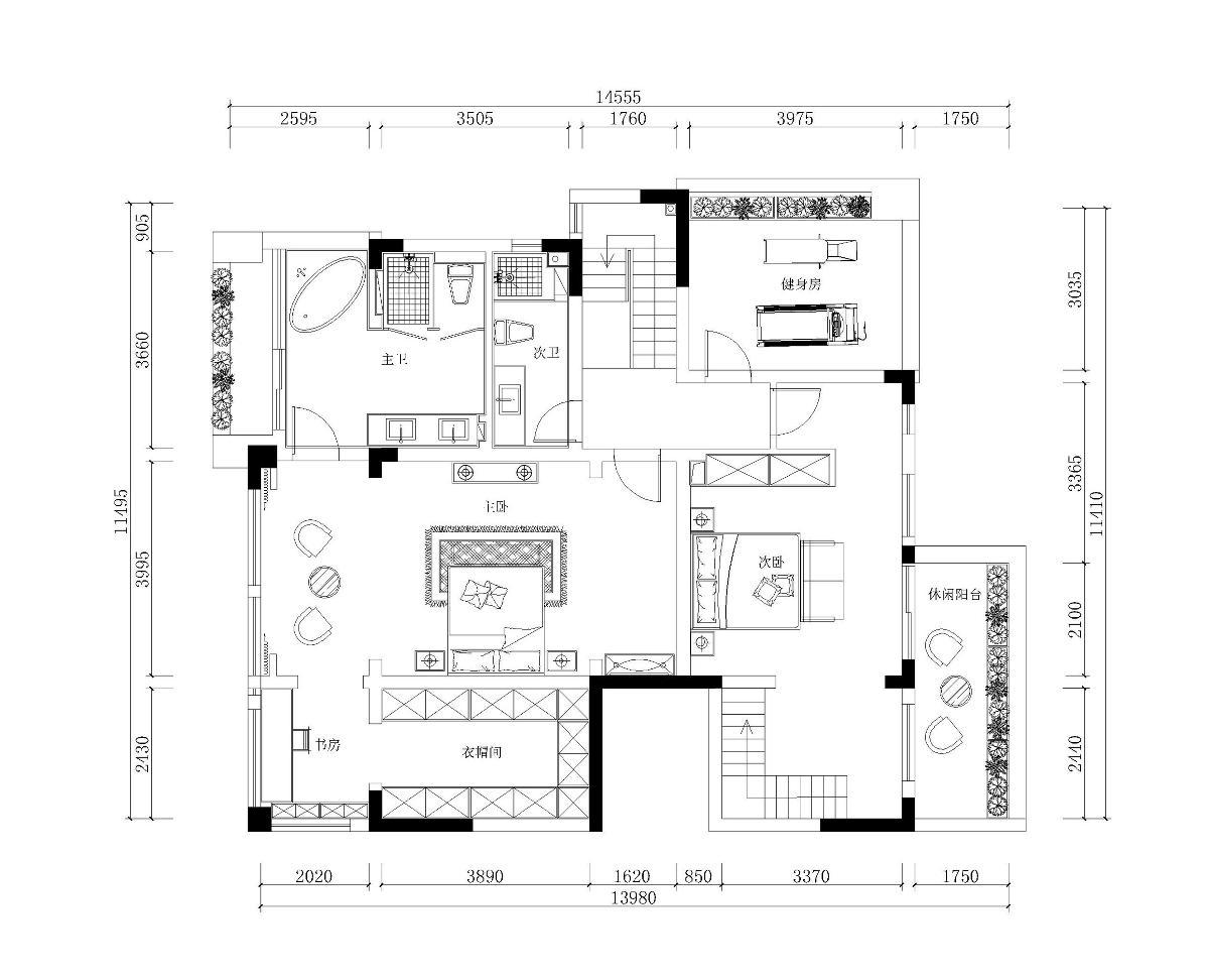 二楼平面布置图-空间改造:通过结构的搭建,在二楼增加了次卫生间和衣帽间,让业主使用更方便。