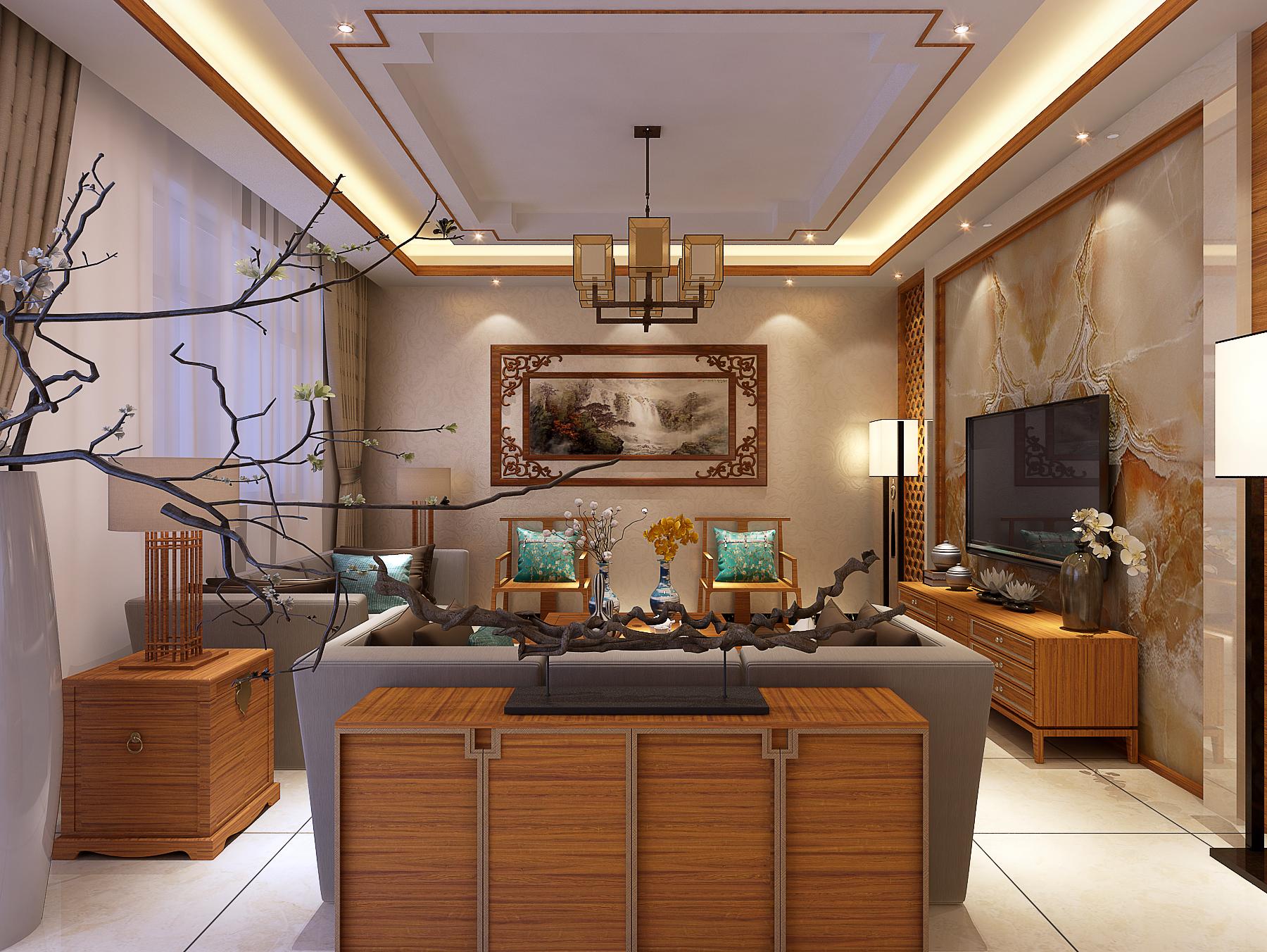 客厅图片来自三好同创装饰公司在公安局家属楼新中式的分享