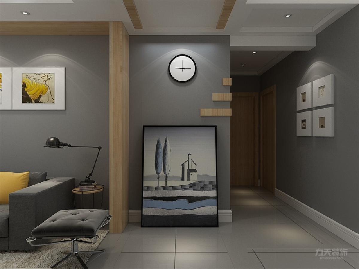 从玄关、客厅,餐厅都有木纹的装饰块来做过渡;在整体的墙面装饰上,用的几何体的形式去表现一种现代感,墙纸选择的是带有凹凸感的浅灰色壁纸