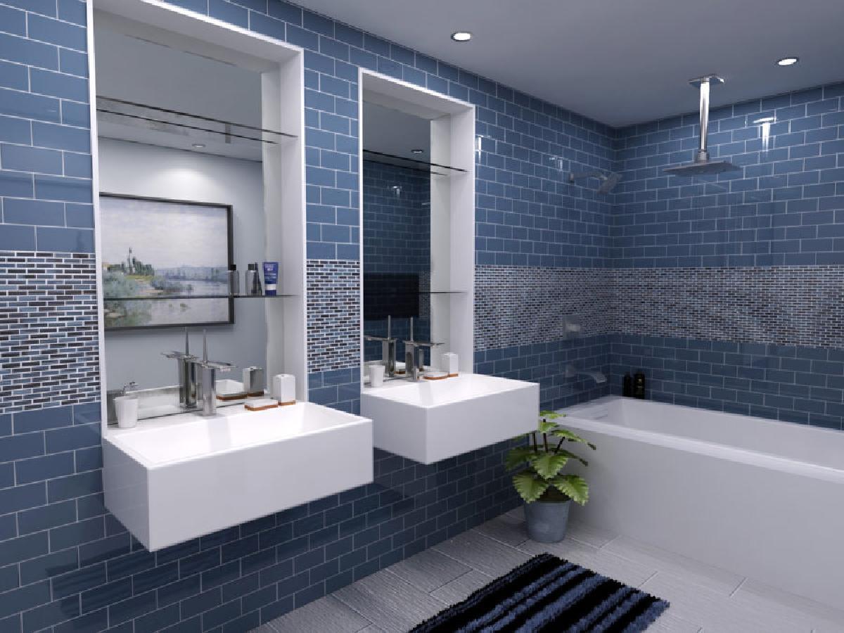 采取两个对比的瓷砖,改变你的浴室的外观。浴室是您的设计和图案选项大胆的一个很好的区域。通过使用两个对比的瓷砖并创建一个你所爱的独特的图案,大胆到另一个水平。