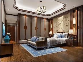 别墅 中式 卧室图片来自李飞在富春山居新中式别墅的分享