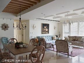 五居 大户型 美式 客厅图片来自幸福空间在264平莓紫色地道美式乡村宅的分享