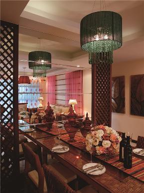 田园 东南亚 三居 四居 大户型 复式 跃层 小资 餐厅图片来自高度国际姚吉智在175平米东南亚原木幻彩添新意的分享
