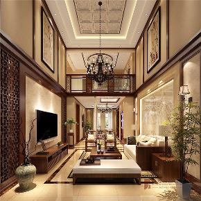 中式 别墅 复式 跃层 大户型 小资 客厅图片来自高度国际姚吉智在首创国际半岛220㎡演绎中国经典的分享