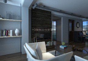 三居 旭辉御府 工业风格 书房图片来自百家设计小刘在旭辉御府100平工业风格半包4.2万的分享