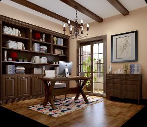 美式 简约 别墅 旧房改造 80后 书房图片来自高度国际设计小雅在潮白河孔雀城伯顿庄园的分享