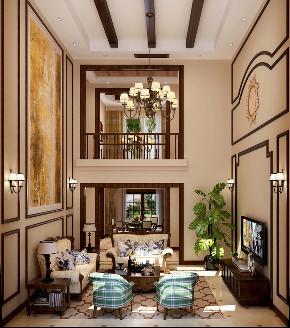 美式 简约 别墅 旧房改造 80后 客厅图片来自高度国际设计小雅在潮白河孔雀城伯顿庄园的分享