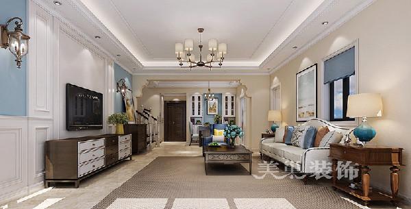 阿卡迪亚装修效果图美式四居160平——入户与客厅全景布局