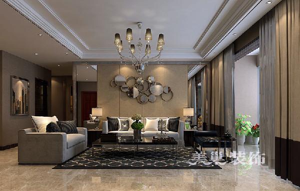 鑫苑名家150平三室两厅现代简约装修案例——沙发背景墙