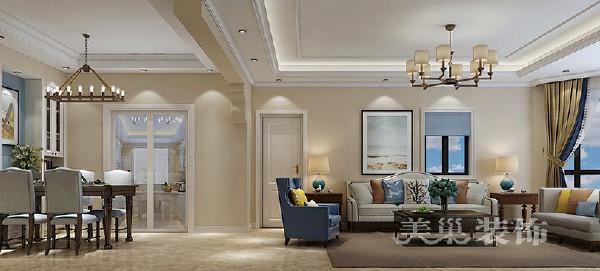 阿卡迪亚4室2厅装修160大平层设计轻美风——沙发背景墙