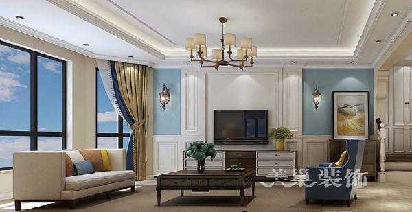 阿卡迪亚160平大四室装修美式乡村效果图——电视背景墙