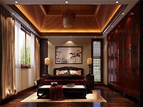 中式 别墅 大户型 跃层 复式 舒适 卧室图片来自高度国际姚吉智在龙山新新小镇800㎡新中式大宅的分享