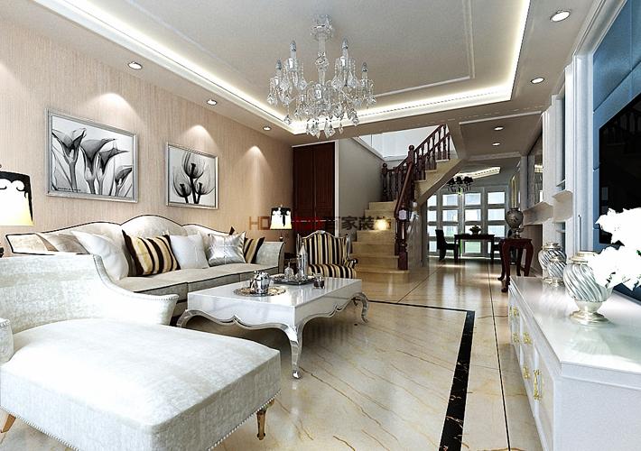 新古典风格 室内设计 沈阳装修 复式阁楼 客厅图片来自百家装饰--小莹在法兰香颂 240平新古典风格的分享