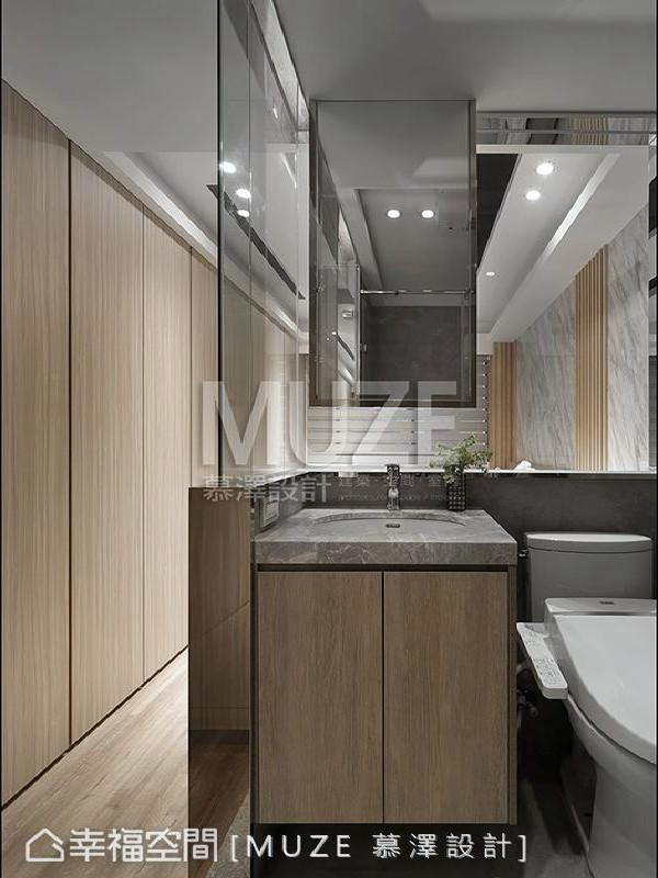 慕泽设计团队完美配置卫浴空间的机能,依照屋主对生活的要求,营造彷佛精品旅店的质感。