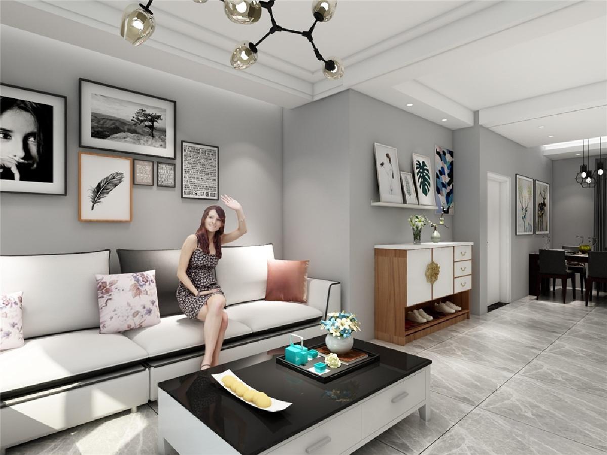 客厅深色电视柜和铝合金条纹电视背景墙, 黑色茶几和沙发黑带搭配很和谐,餐厅黑色台面的餐桌和黑色的餐椅和