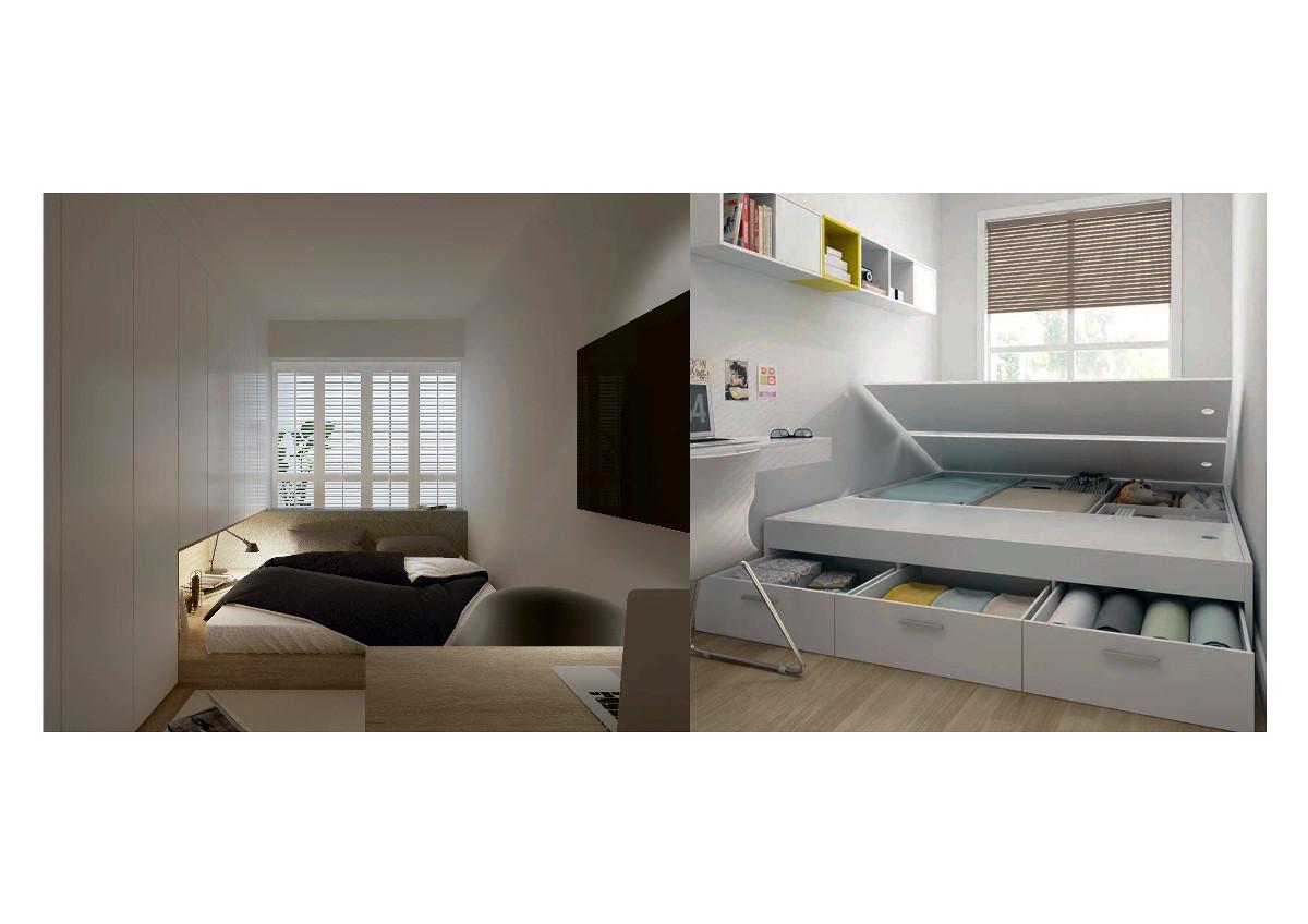 透过精准的设计把木制柜体和墙面完美融合,大范围的应用让大量居家杂物也能妥善收纳,嵌入式箱体床的设计更好的解决了床体对卧室空间的大面积占用从而增加了更多的收纳空间。