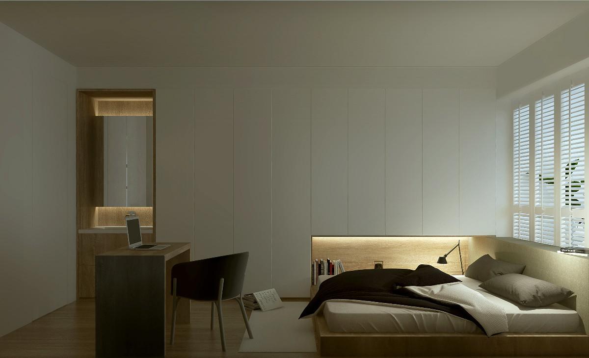紧密贴合墙壁天花板的柜体,以不占用生活空间为设计原则,不让收纳柜成为视线的阻碍,同时也使整个空间更协调。