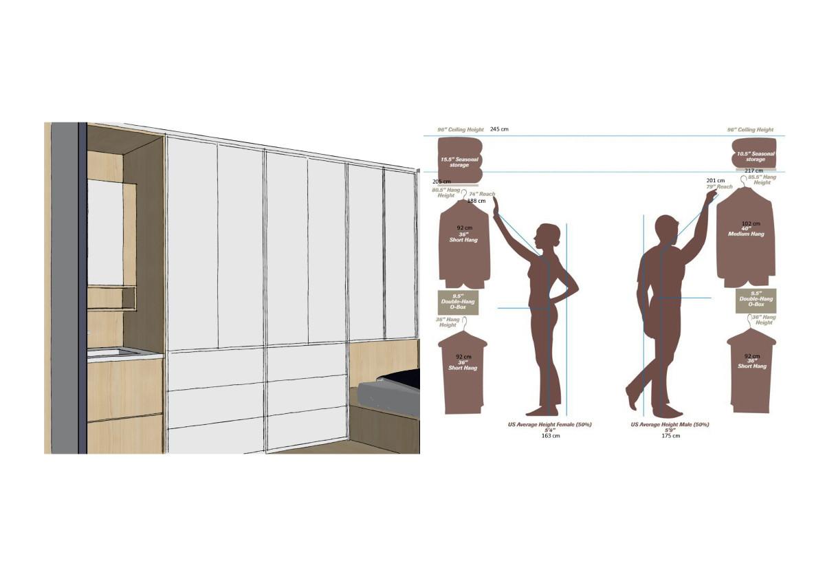 室内的高柜储物储物空间都分为三个分区90cm到190cm收纳常用物品;0到90cm收纳次常用物品;190cm到柜子的顶部收纳不常用物品;有条理的将家居物品分类、分区的收纳更加适合当代人的生活方式。