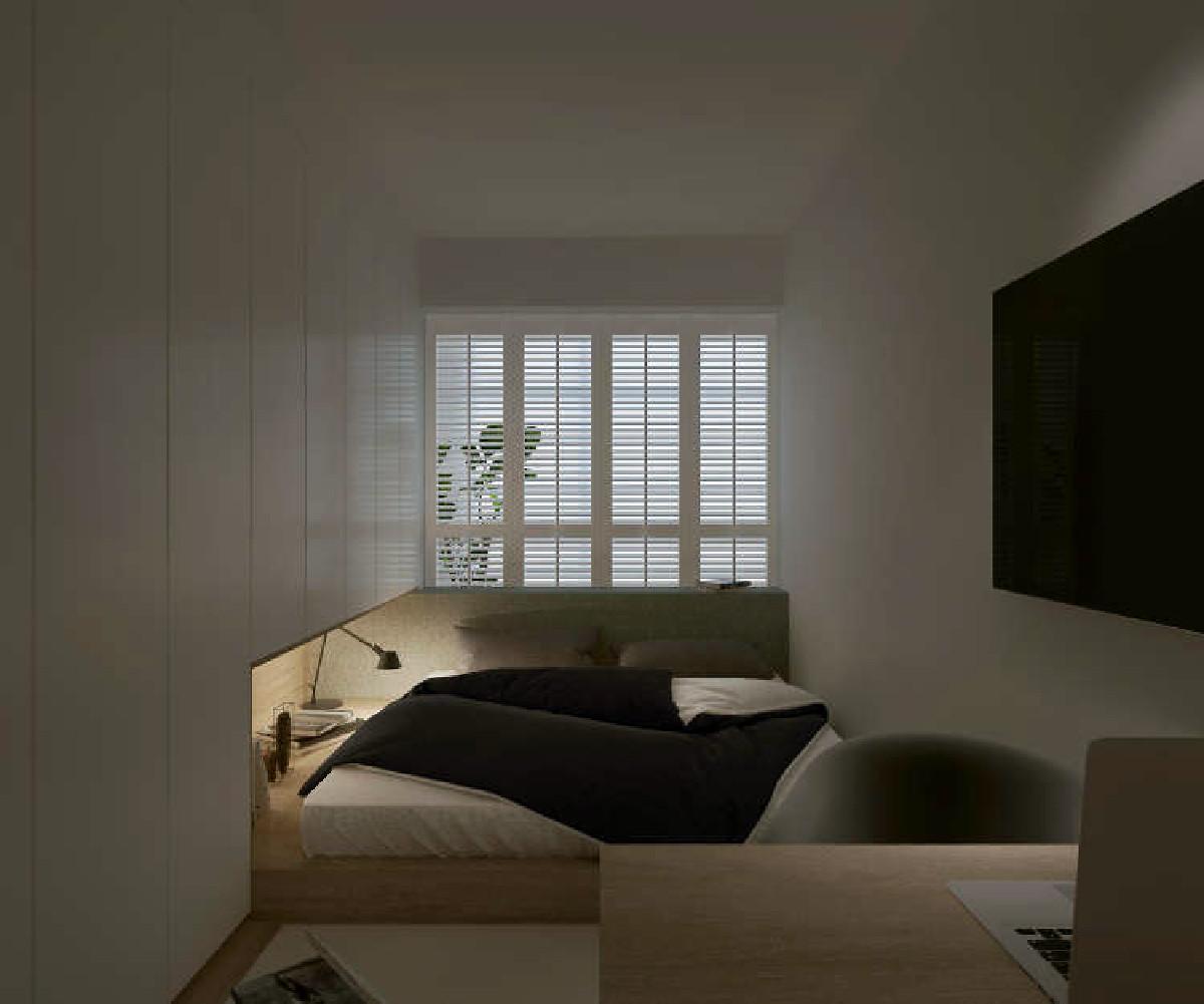 卧室窗帘选用了木质百叶窗的形式,相对于普通布艺窗帘更易打理,采光的同时,又能根据百叶的朝向更好的阻挡外界视线,从而起到了很好的隐私保护作用。