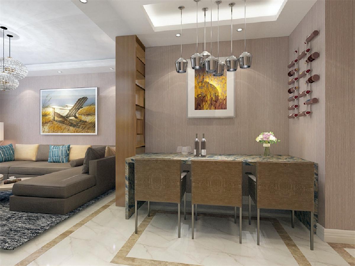 餐厅采用软装以浅咖色为主搭配白色地砖,偏黄色的波打线。简约风格舒适的空间。