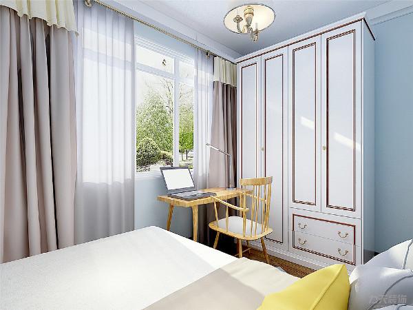 主卧的采用多为冷暖色相间的黄色作为颜色搭配,紫色给人以安详舒适的感觉,也有助于人的休息,方便收拾又很美观