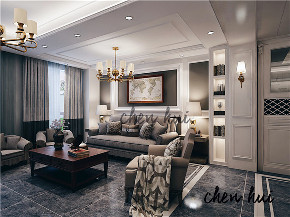 简约 别墅 简美 美式 客厅图片来自众意装饰 李潇在蔷薇溪谷260平简美风格案例的分享