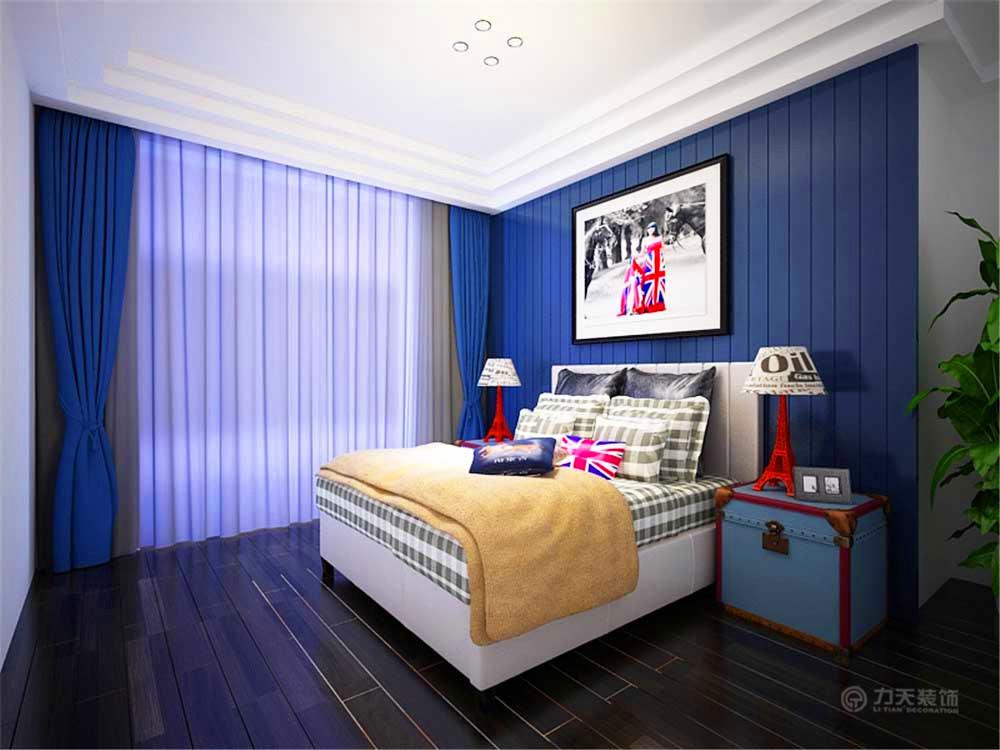 床头背景是蓝色的实木饰面板设计搭配了一个白色为主的装饰画,其他图片