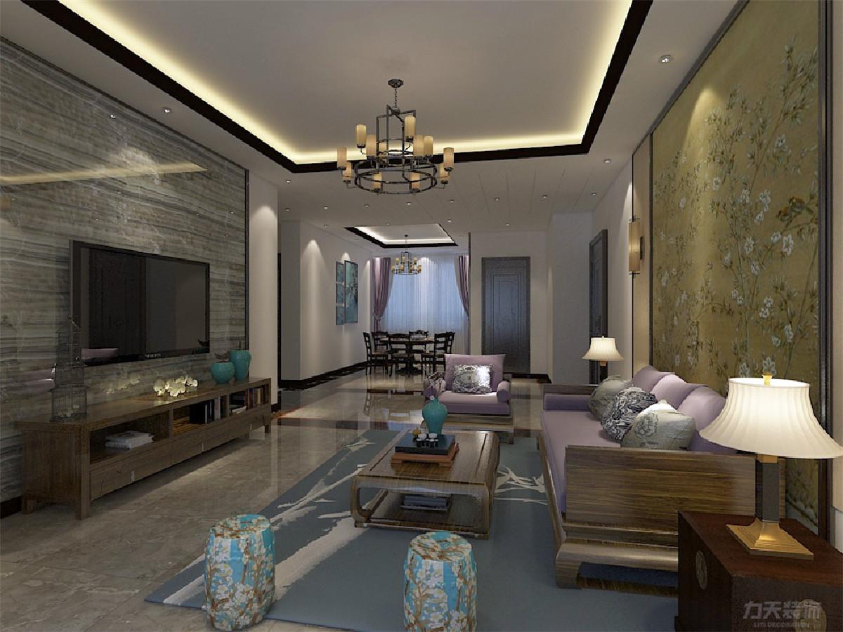 客厅沙发背景采用中国风装饰画。电视背景墙用瓷砖材质做的,使得整个房间层次分明。
