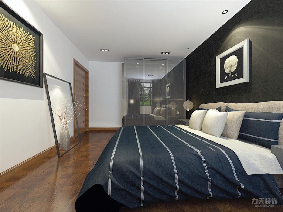 卧室背景墙,选用现代风格的装饰画与床产生对比,体现一种室内舒适、简洁的现代简约风格,再加上柔和的室内暖光,显得更加大气和温馨。