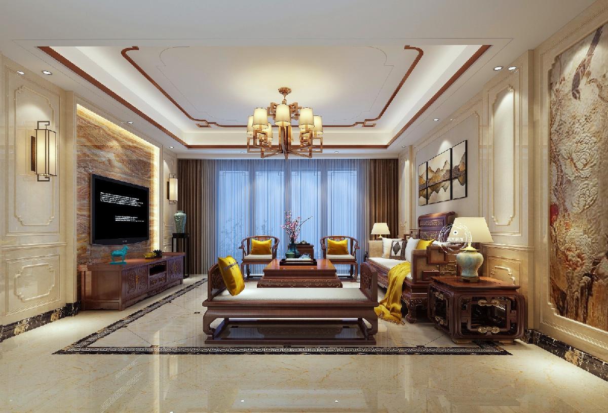 典型的中式风格客厅,典雅且韵味十足。古典窗格的大理石沙发背景墙搭配山水画结合,与大理石花纹背景墙相呼应,给人大气舒适的感觉。实木家具与白色坐垫的沙发组合是古典与现代的完美结合,传统又不失时尚。