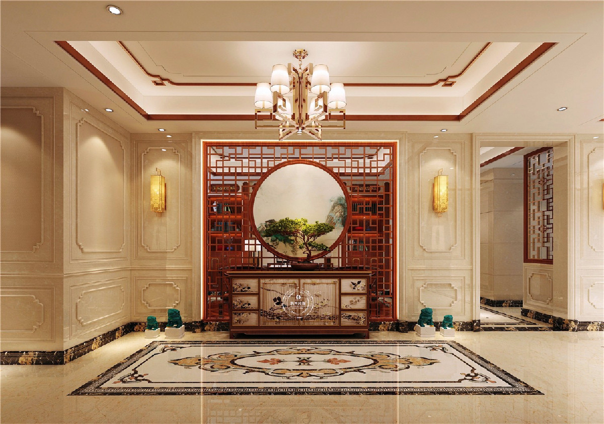 门厅用镂空花雕做装饰,彰显出一种典雅情调。暖黄色灯笼造型的吸顶灯为整个空间增加亮点,整体色调为暖色,体现出家的温暖,贵气舒适。