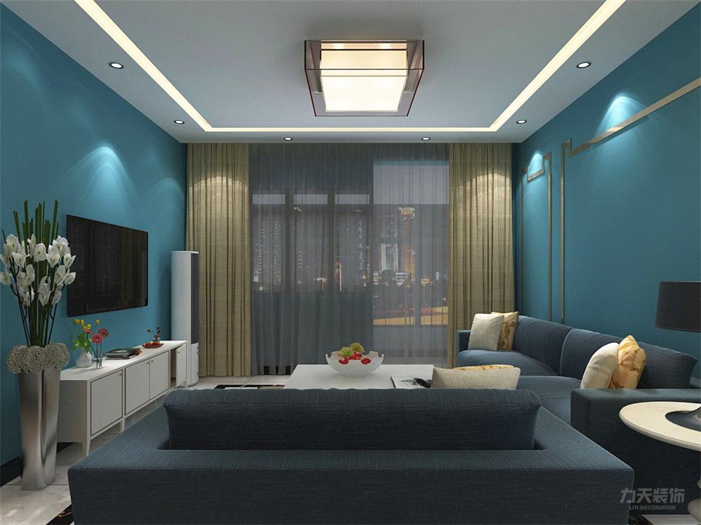 客厅是采用方形吊顶内藏灯带,采用方型吊灯,并且此空间以蓝色为主色调图片