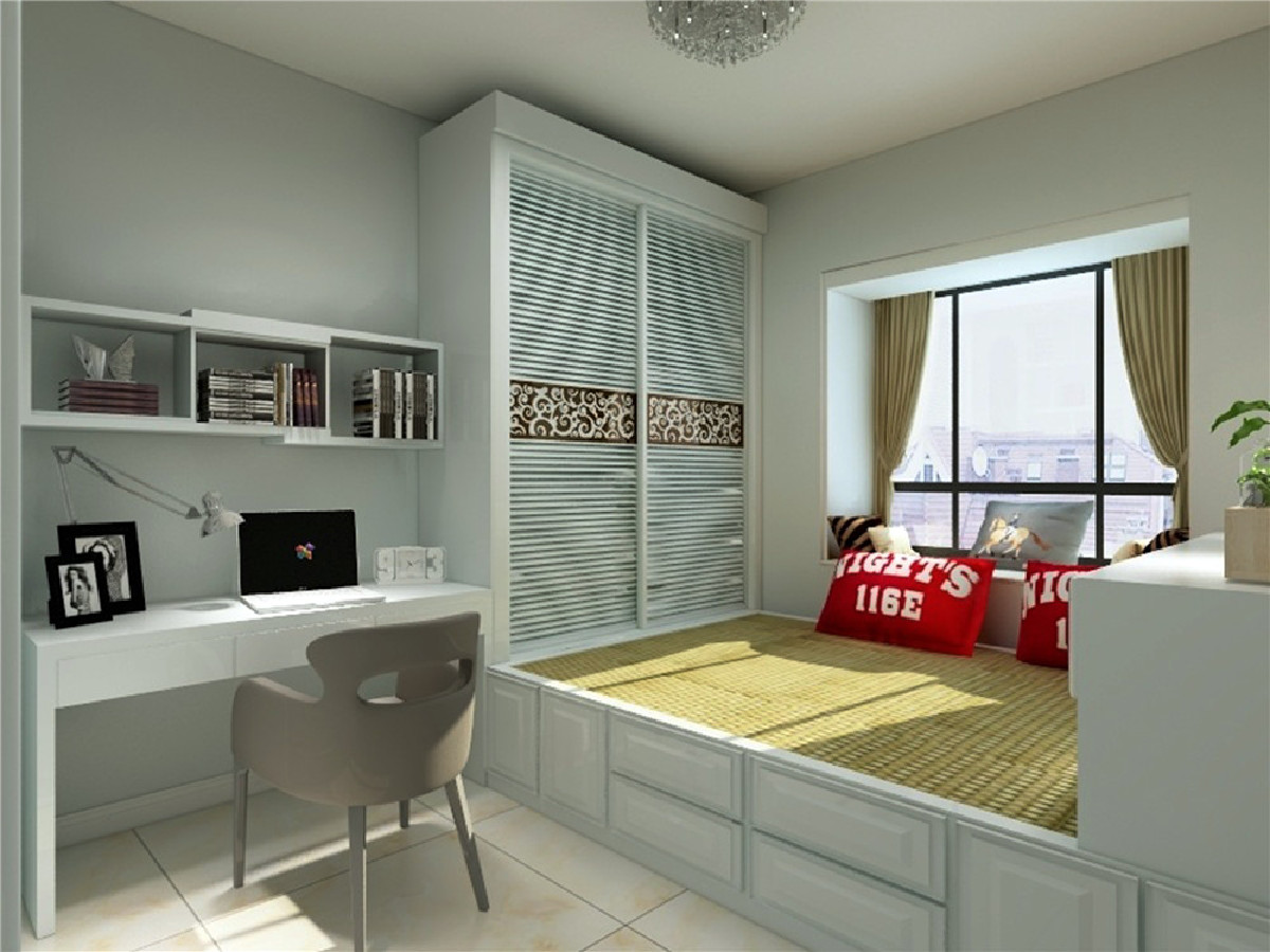 卧室采用吸顶灯以冷暖色彩搭配明亮舒服,墙面的挂画调节空间的视觉感颜色搭配,适合对简约风格喜欢的客户,工作回家后有舒适的空间温馨舒适。