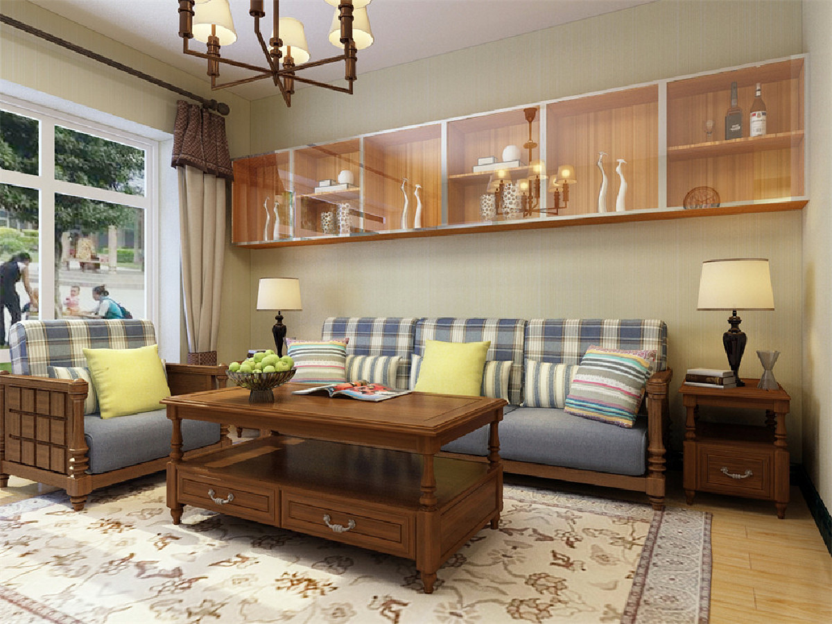 客厅作为待客区域,要明快光鲜,用木隔板电视墙实用美观,使整体上有一种宽敞而富有现代时尚气息。 墙面采用暖色乳胶漆,这样使视觉上具有层次感,色彩也更加温馨舒适。