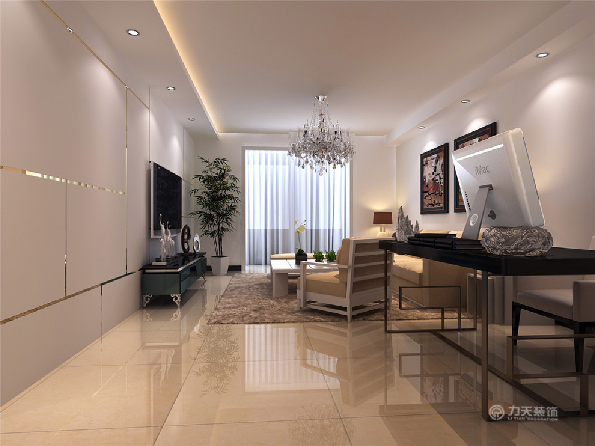 客厅沙发背景墙采用色彩丰富的挂画,加以装饰。电视墙采用石膏板拉缝,中间采用不锈钢条做衬托,既体现业主的品味,又不缺乏现代简约感的风格。