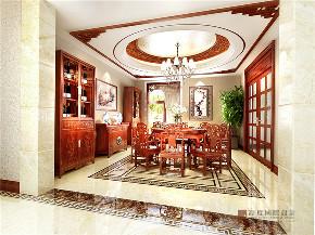 中式 四居 大户型 跃层 复式 别墅 80后 小资 餐厅图片来自高度国际姚吉智在200平米新中式大平层独领风骚的分享