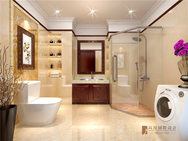 中式 四居 大户型 跃层 复式 别墅 80后 小资 卫生间图片来自高度国际姚吉智在200平米新中式大平层独领风骚的分享