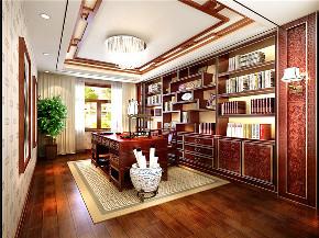 中式 四居 大户型 跃层 复式 别墅 80后 小资 书房图片来自高度国际姚吉智在200平米新中式大平层独领风骚的分享