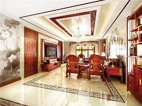 中式 四居 大户型 跃层 复式 别墅 80后 小资 客厅图片来自高度国际姚吉智在200平米新中式大平层独领风骚的分享
