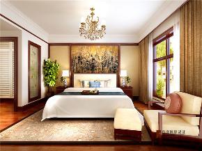 中式 四居 大户型 跃层 复式 别墅 80后 小资 卧室图片来自高度国际姚吉智在200平米新中式大平层独领风骚的分享