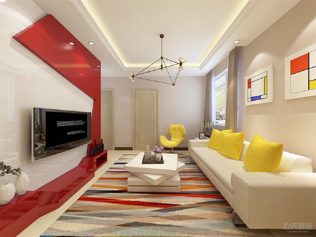客厅的设计采用鲜亮的颜色,电视背景墙用了反射很强的的接近镜面的材质,红白搭配,线条感十足