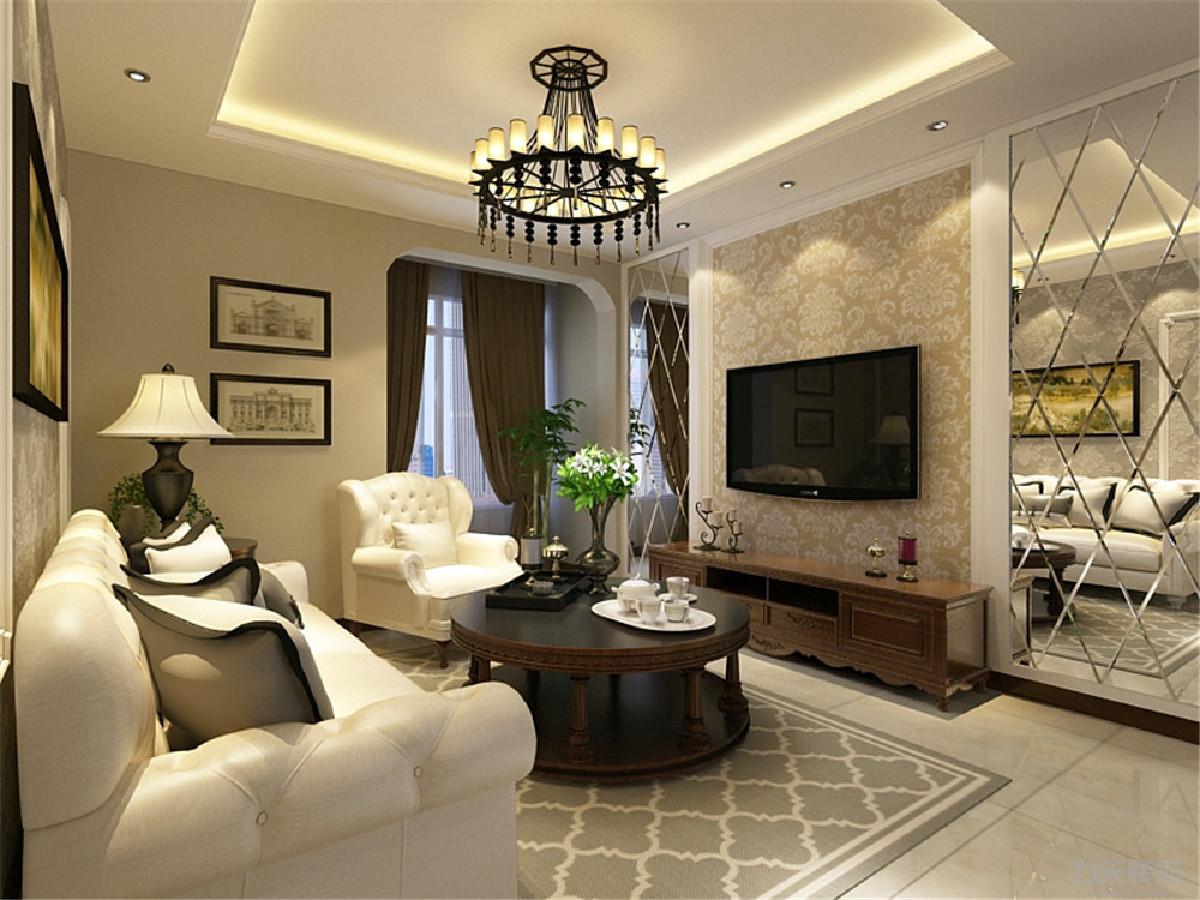 沙发背景墙的设计为石膏线圈边贴壁纸,沙发的选择为3加1的样式,茶几为圆形