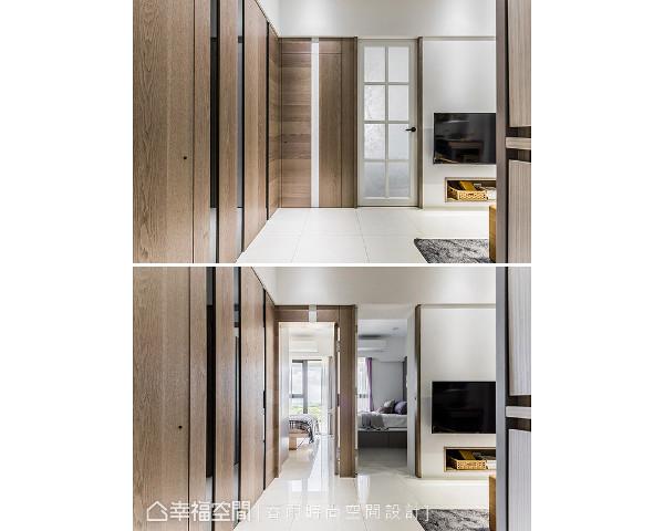 透过隐藏门片设计让视觉得以延伸,局部搭配镜面反射,为空间带来放大效果。