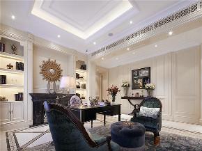 新古典 法式 别墅 跃层 复式 大户型 80后 高帅富 书房图片来自高度国际姚吉智在680㎡法式新古典时尚独栋别墅的分享