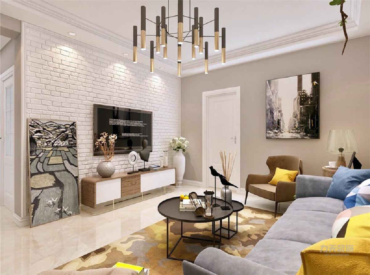 装修效果图 客厅的影视墙做了白色文化砖的造型,白色搭配木色的电视柜