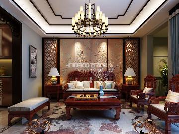 金地铂悦220平中式风格半包12万