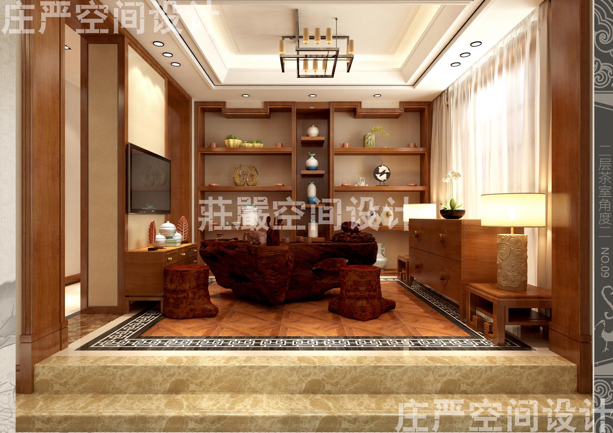 别墅新中式客厅装仹�b9��9f_别墅客厅卧室餐厅新中式