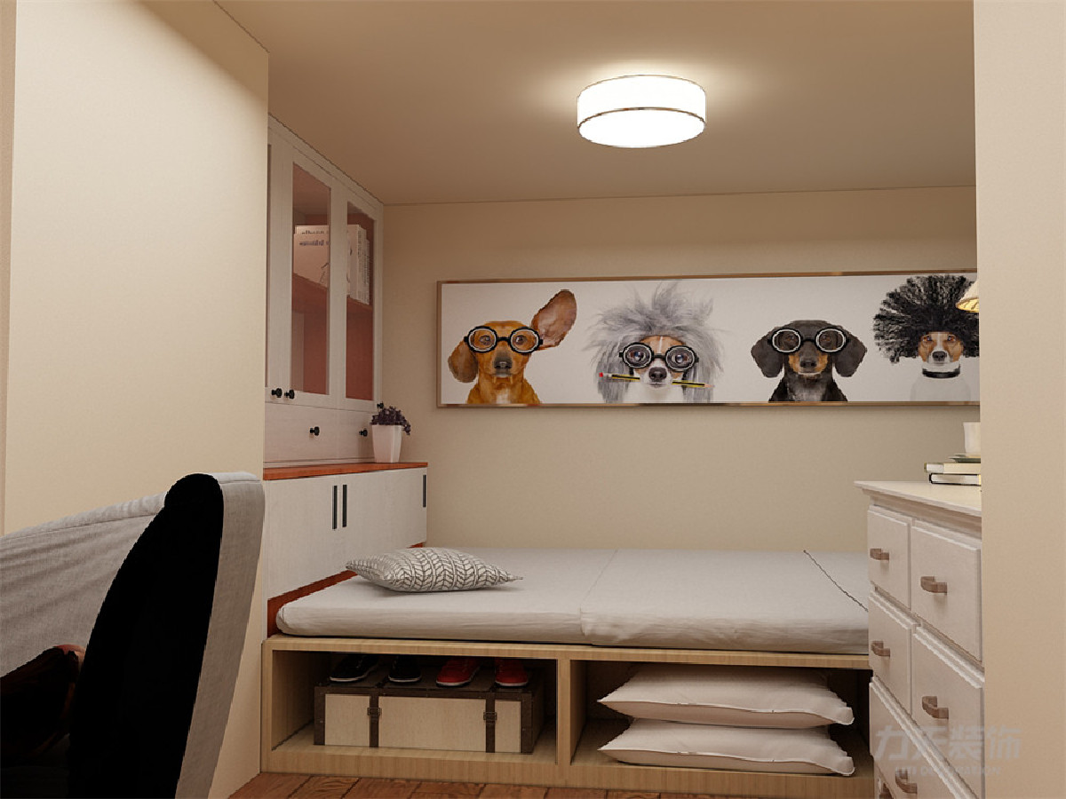 两个卧室采用现代风格家具,次卧设置书柜书桌五斗柜等办公用品,让客户有个安心舒适的休息放松环境,采用榻榻米组合床,衣柜,储物收纳都能满足,充分合理利用空间。