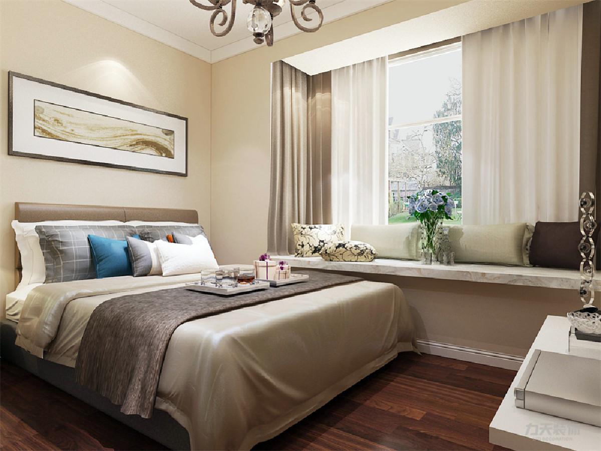 卧室整体温馨舒适,整体空间为淡黄色乳胶漆,配以实木的家具加上充足的采光使床头增加活力。让卧室更加魅力。